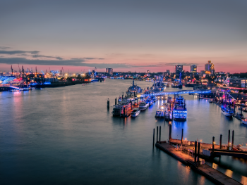 Light art project 'Blue Port Hamburg 2017' Harbour