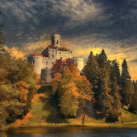 An old castle in autumn