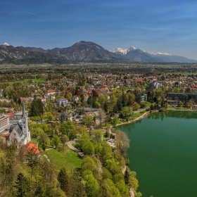 Bled, town and lake