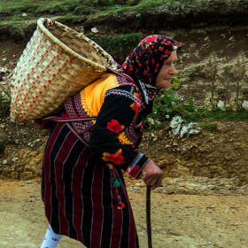 Bir Çepni kadını pazar yolunda.