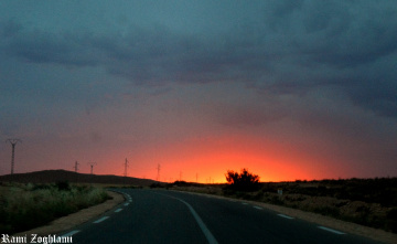 Wonderful Sunset on Road