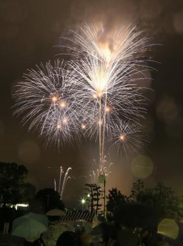 Fireworks in the rain