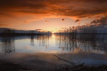 ... Red sun, sunrise in Nysa, Polonya