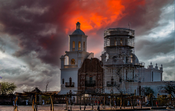 Mission San Xavier del Bac After A Monsoon Storm