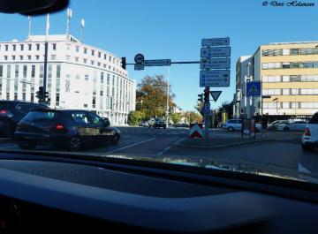 Road junction in Karlsruhe / Germany